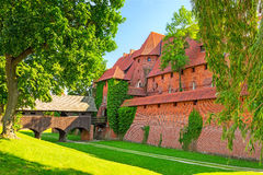 The wall and towers of Malbork castle Royalty Free Stock Photo