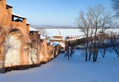The wall and towers of the Nizhny Novgorod Kremlin stock image