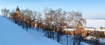The wall and towers of Nizhny Novgorod Kremlin royalty free stock images
