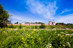 The wall with towers of the Saviour Monastery of St. Euthymius i Royalty Free Stock Photos