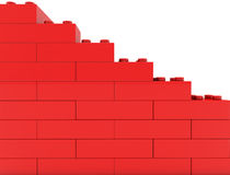 Wall of toy bricks in red color Royalty Free Stock Photos