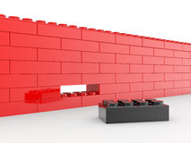 Wall from toy building blocks Stock Photos