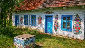 Wall of a traditional colorful building in Zalipie village in Poland. stock images