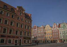 A wall of traditional colorful townhouses in the Main Square in Wroclaw, Poland. Royalty Free Stock Photography