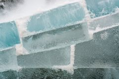 Wall of ice blocks Royalty Free Stock Images