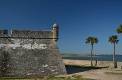 Castillo San Marcos. A wall and turret of Castillo San Marcos in St. Augustine, Florida royalty free stock image