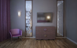 Wall with TV, mirrors, armchair Royalty Free Stock Photo