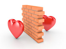 Wall and two hearts. 3D illustration of wall and two hearts Royalty Free Stock Photos