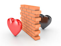 Wall and two hearts. 3D illustration of wall and two hearts Royalty Free Stock Images