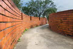 Wall two side of narrow walkway between two buildings Two brick Stock Photo