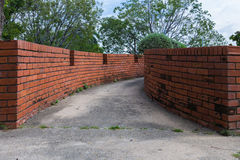 Wall two side of narrow walkway between two buildings Two brick Stock Photography