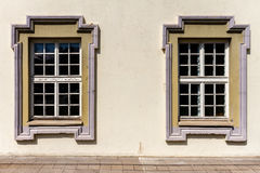 Wall with two windows Royalty Free Stock Photography
