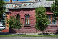 The wall of a typical old historic building late XIX - early XX century in the center of the Petropavl, Kazakhstan. Petropavl is a city in northern Kazakhstan Stock Photos