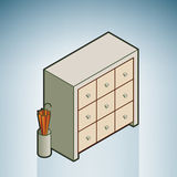Wall Unit. (part of the Modern Furniture Isometric 3D Icons Set Royalty Free Stock Photography