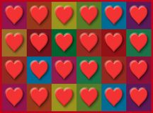 A wall of Valentine`s Day hearts on a multi-colored grid background Royalty Free Stock Photo