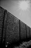 Wall with vanishing point and sun Royalty Free Stock Images
