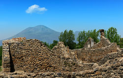 Wall with Vesuvius in the distance, Pompeii Royalty Free Stock Photo