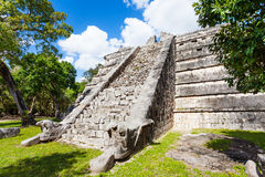 Wall view of Chichen Itza monument, Mexico Stock Images