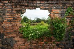 Wall with view into nature Royalty Free Stock Images
