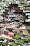 Wall. View of the ruined wall of bricks Royalty Free Stock Photography
