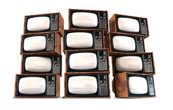 Wall Of Vintage Televisions Stock Photography