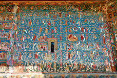 Wall from Voronet. A painted wall from Voronet monastery Stock Photos