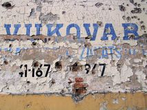 Wall in Vukovar. Damage in war Royalty Free Stock Photography