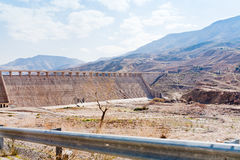 Wall of Wadi Al Mujib dam in mountain valley Royalty Free Stock Photos