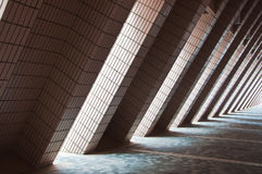 The wall and walkway with tiles Stock Photos
