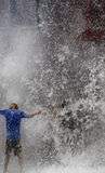 Wall of water. Falling down on children stock images