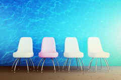 Wall of water and chairs in the interior. 3d concept Royalty Free Stock Photos