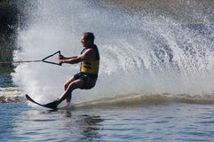 Wall of water waterskiier Stock Photos
