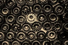 Wall of Wheel Rims stock images