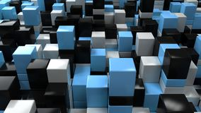 Wall of white, black and blue cubes. Abstract colorful 3d background. 3D render illustration Stock Photos