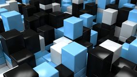 Wall of white, black and blue cubes. Abstract colorful 3d background. 3D render illustration Stock Photography