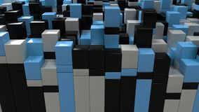 Wall of white, black and blue cubes. Abstract colorful 3d background. 3D render illustration Royalty Free Stock Image