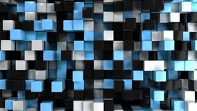 Wall of white, black and blue cubes. Abstract colorful 3d background. 3D render illustration Royalty Free Stock Photo