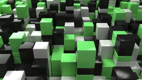 Wall of white, black and green cubes. Abstract colorful 3d background. 3D render illustration Stock Photo