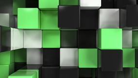 Wall of white, black and green cubes. Abstract colorful 3d background. 3D render illustration Stock Photos