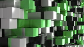 Wall of white, black and green cubes. Abstract colorful 3d background. 3D render illustration Stock Image