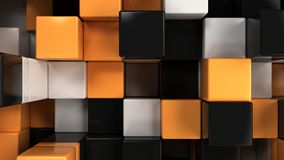 Wall of white, black and orange cubes. Abstract colorful 3d background. 3D render illustration Stock Photos
