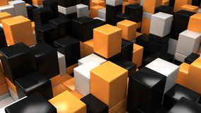 Wall of white, black and orange cubes. Abstract colorful 3d background. 3D render illustration Royalty Free Stock Images