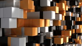 Wall of white, black and orange cubes. Abstract colorful 3d background. 3D render illustration Royalty Free Stock Photo