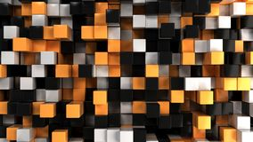 Wall of white, black and orange cubes. Abstract colorful 3d background. 3D render illustration Stock Image