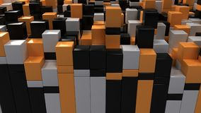 Wall of white, black and orange cubes. Abstract colorful 3d background. 3D render illustration Royalty Free Stock Image