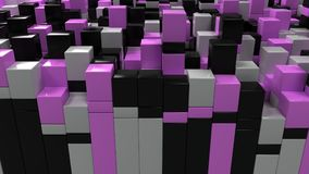 Wall of white, black and purple cubes. Abstract colorful 3d background. 3D render illustration Stock Photography
