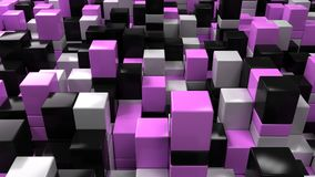 Wall of white, black and purple cubes. Abstract colorful 3d background. 3D render illustration Royalty Free Stock Photos