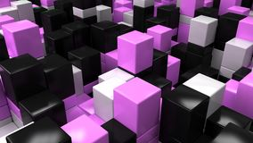 Wall of white, black and purple cubes. Abstract colorful 3d background. 3D render illustration Royalty Free Stock Image