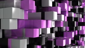 Wall of white, black and purple cubes. Abstract colorful 3d background. 3D render illustration Stock Images