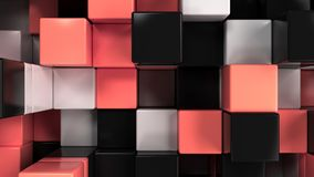 Wall of white, black and red cubes. Abstract colorful 3d background. 3D render illustration Stock Photography